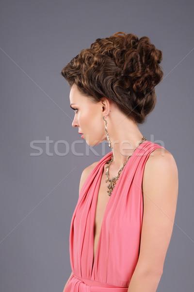 Profile of Gorgeous Lady with Braided Hairs Stock photo © gromovataya