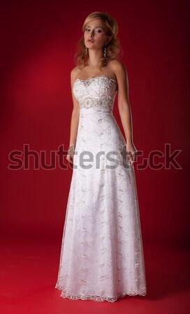 Csinos női fiatal menyasszony szőke nő esküvő Stock fotó © gromovataya