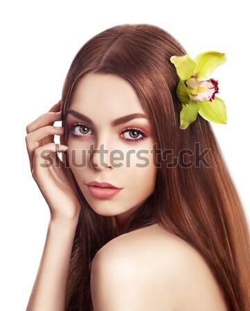 Schoonheid portret brunette model gezonde steil haar Stockfoto © gromovataya