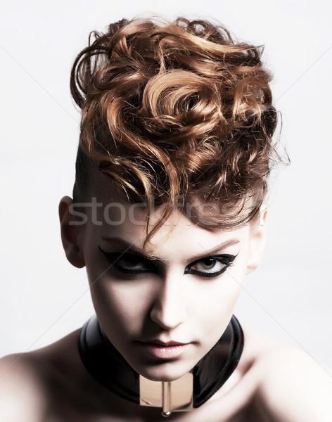 Subculture. Face of Glamorous Trendy Brunette. Expression Stock photo © gromovataya