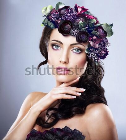 Luxus stílusos nő hosszú arc szépség Stock fotó © gromovataya