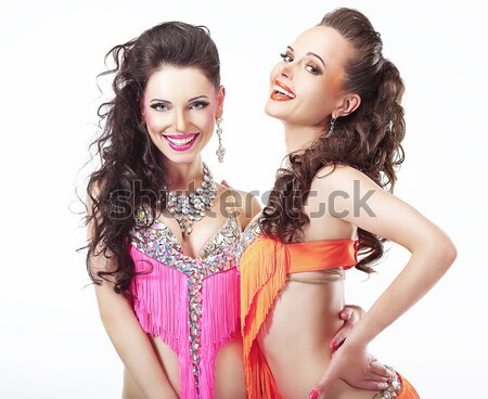 Foretaste. Two Women holding Appetizing Cupcakes with Whipped Cream Stock photo © gromovataya