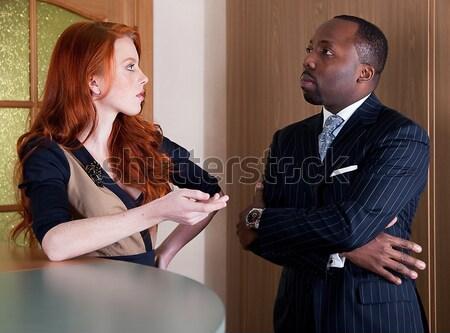 Kettő üzletemberek női férfi áll iroda Stock fotó © gromovataya