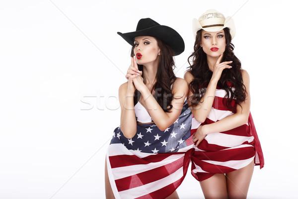 Stockfoto: Blijde · vrouwen · Amerikaanse · vlag · model · paar · schoonheid