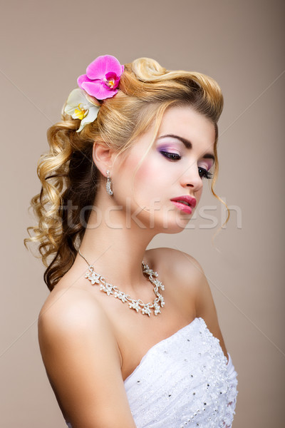 Sophistication. Sensual Affectionate Woman in Reverie. Healthy Clean Skin. Natural Beauty Stock photo © gromovataya