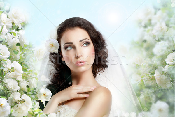 Sentiment. Perfect Exquisite Woman with Flowers over Vernal Floral Background Stock photo © gromovataya