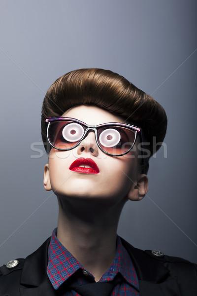 Grappig belachelijk meisje komische zonnebril Stockfoto © gromovataya