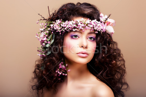 Luxuriant. Femininity. Fashion Model with Classic Wreath of Flowers Stock photo © gromovataya