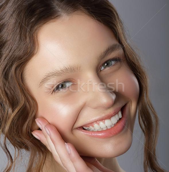 őszinte nyerő mosoly arc boldog kellemes Stock fotó © gromovataya