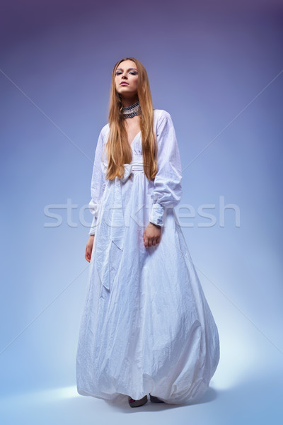 Portrait of romantic young woman in gown dress. Retro style Stock photo © gromovataya