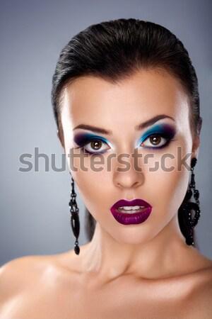 Pompás imádnivaló nő néz fényes smink Stock fotó © gromovataya