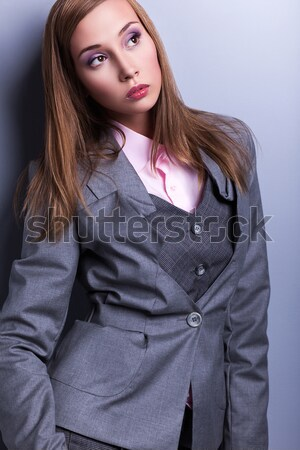 Graceful Stylish Woman in Grey Costume - Vogue Style Stock photo © gromovataya