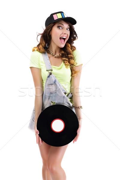 Laughing Jubilant Woman with Vinyl Record Isolated on White Background Stock photo © gromovataya