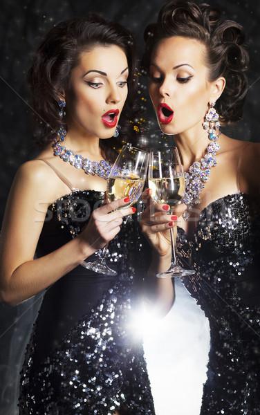 ストックフォト: カップル · 女性 · パーティ · ワイングラス