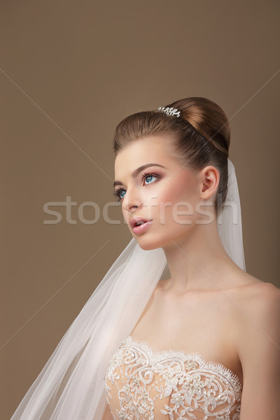 Classy Elegant Woman with Veil Looking Up Stock photo © gromovataya
