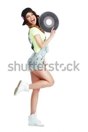 Funny Artistic Entertainer with Retro Vinyl Record Stock photo © gromovataya