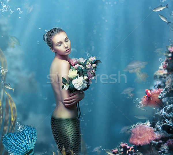 Inspiration. Fantastic Woman with Flowers in Water Stock photo © gromovataya