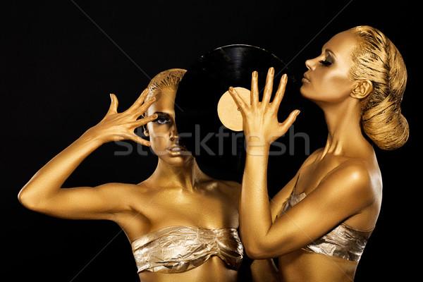 Fetiş kadın Retro vinil kayıt Stok fotoğraf © gromovataya
