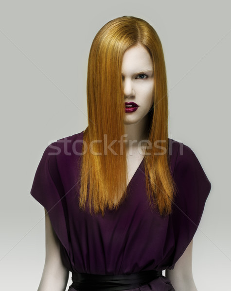 Stare. Exquisite Golden Hair Stylish Woman in Violet Dress. Arrogance Stock photo © gromovataya