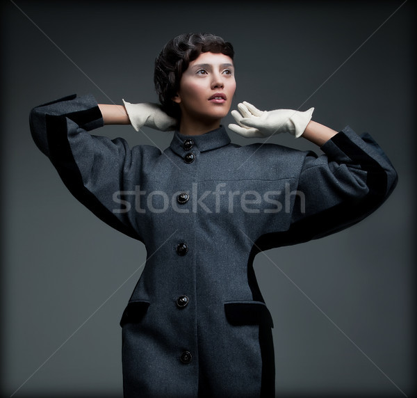 Aristocratically Styled Woman in Autumn Elegant Outfit. Old-fashioned Collection Stock photo © gromovataya