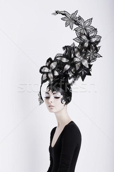 Creative Concept. Portrait of Futuristic Woman in Art Fabulous Headdress Stock photo © gromovataya