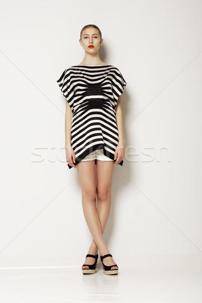 Hozzáállás modern stílusos nő szürke elegáns Stock fotó © gromovataya