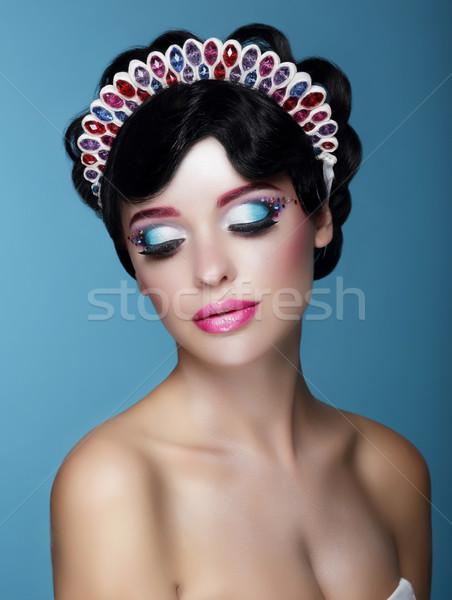 Luxurious Dreamy Female with Bright Makeup and Art Diadem Stock photo © gromovataya