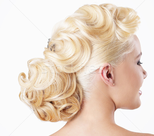 Elegance. Rear View of Blonde with Festive Hairstyle Stock photo © gromovataya