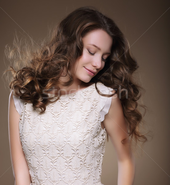 Pure Beauty. Young Brunette with Closed Eyes Stock photo © gromovataya