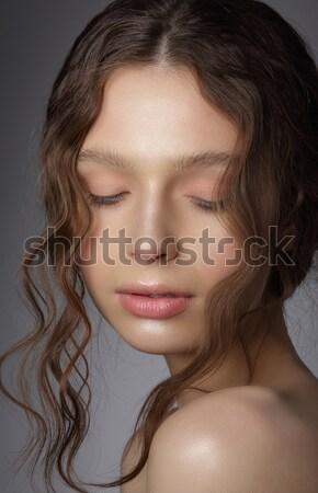 Sonhador menina pensamentos naturalismo limpar Foto stock © gromovataya