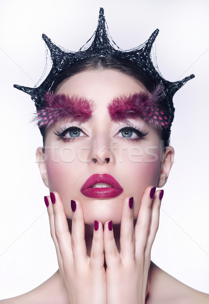 Creative Concept. Woman with Fancy Headwear and Red Make-up Stock photo © gromovataya