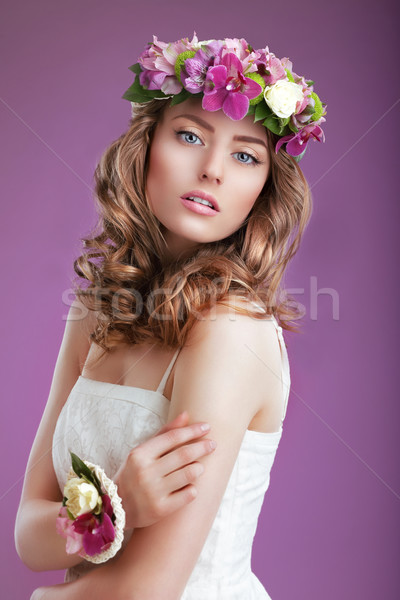 Exquisite Woman with Wreath of Flowers. Elegant Lady with Frizzy Hair Stock photo © gromovataya
