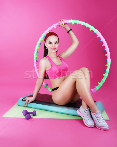 Stock photo: Healthy Lifestyle. Sporty Woman Sitting on Mat with Fitness Equipment