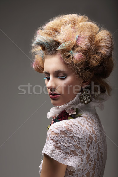 Individuality. Haute Couture. Swanky Woman with Colored Hair Stock photo © gromovataya
