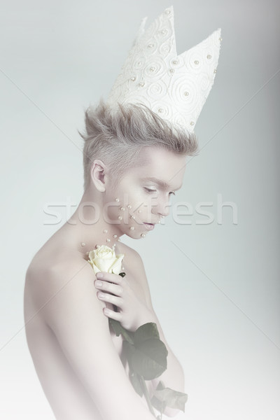 Creative Concept. Man in Crown with Flowers Stock photo © gromovataya