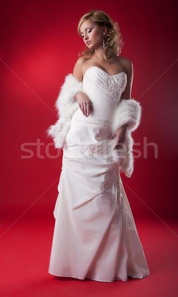 Esküvő divat modell szőke nő menyasszonyi ruha Stock fotó © gromovataya