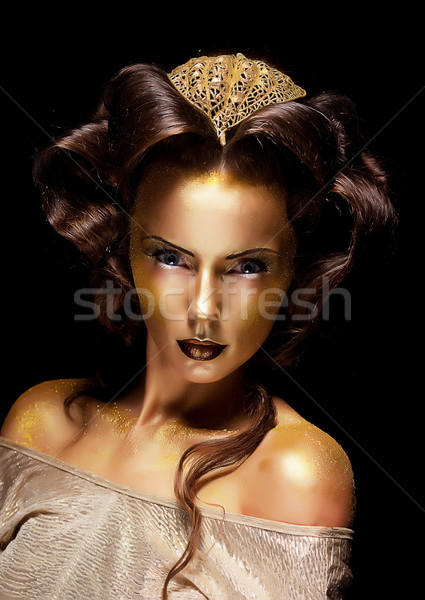 Woman gilded golden face - theater luxury make up Stock photo © gromovataya