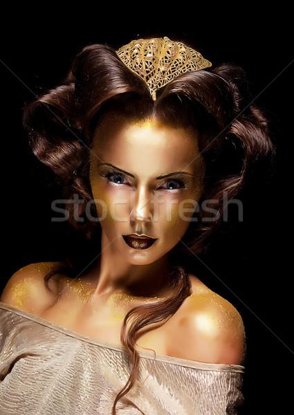 Kadın yaldızlı altın yüz tiyatro lüks Stok fotoğraf © gromovataya