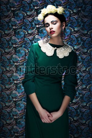 Elegant Lady in Green Dress and Roses. Retro Style Stock photo © gromovataya