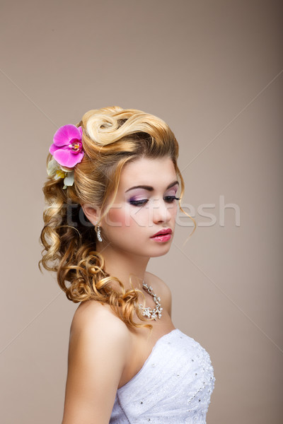Dreams. Desire. Thoughtful Luxurious Bride Blonde - Gorgeous Hair Style. Purity Stock photo © gromovataya