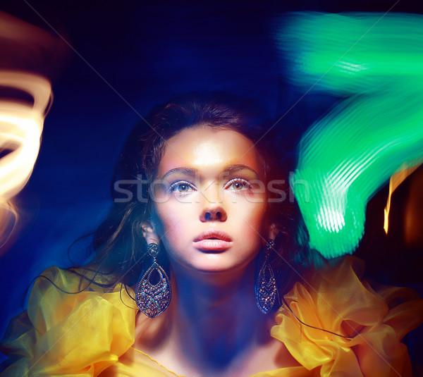 Blurs. Portrait of Woman in Multicolor Blurry Shadows Stock photo © gromovataya