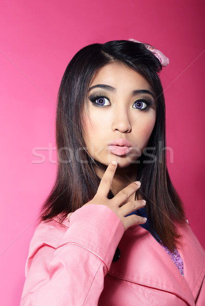 Attractiveness. Portrait of Asian Brunette with Big Surprised Eyes Stock photo © gromovataya
