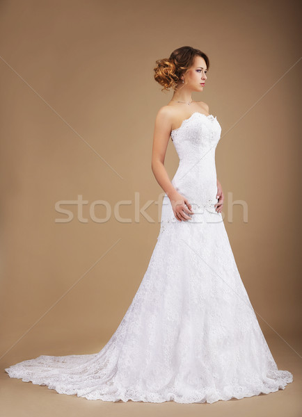 Elegance. Young Graceful Newlywed in Long Dress Stock photo © gromovataya