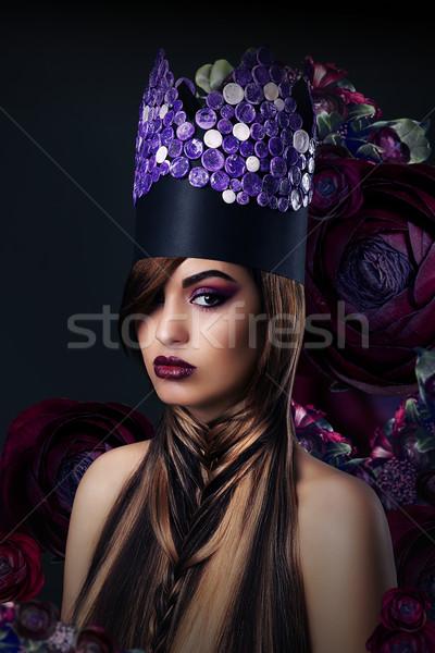 фантазий женщину необычный искусства стилизованный корона Сток-фото © gromovataya