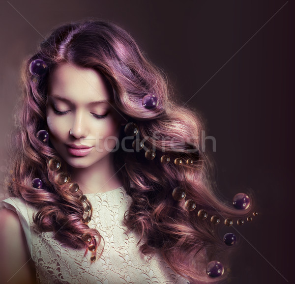 Beauty Portrait of Young Woman with Flowing Hairs Stock photo © gromovataya