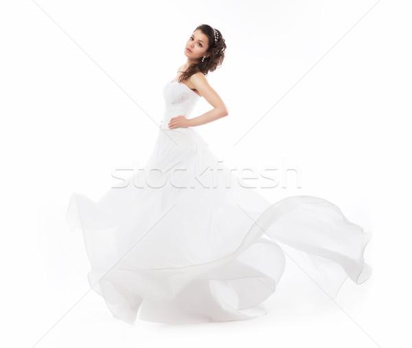 Stockfoto: Schoonheid · bruid · bruiloft · mode · witte · jurk · lopen