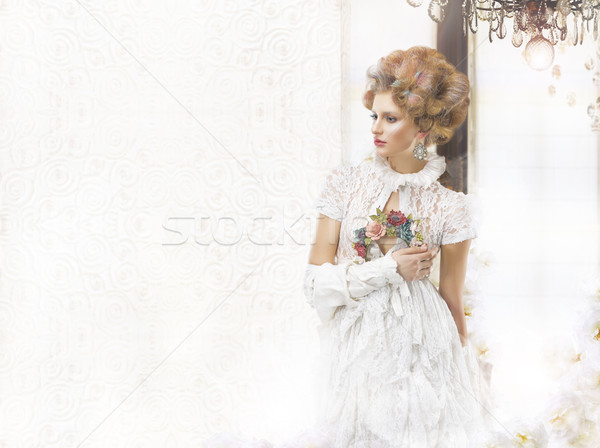 Nostalgisch vrouw retro jurk bruiloft licht Stockfoto © gromovataya