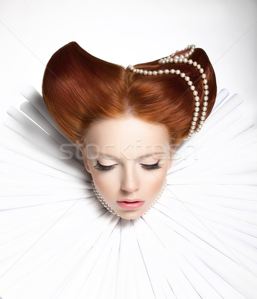 Fairy Tale. Theatre. Fancy Woman in Medieval Frill - Fantastic Retro Hairstyle. Fantasy Stock photo © gromovataya