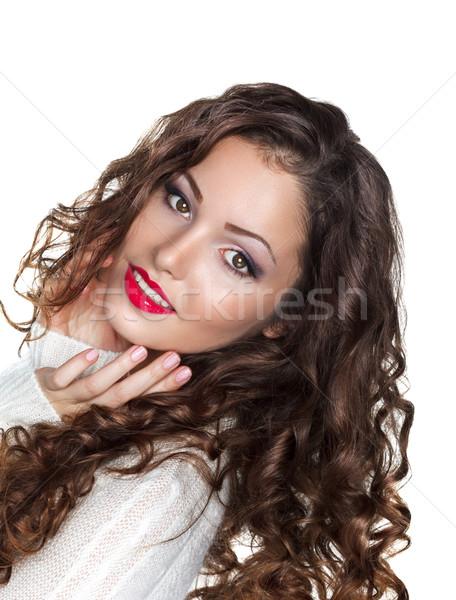Romantic Curly Brunette Girl in White Warm Sweater - Elation Stock photo © gromovataya