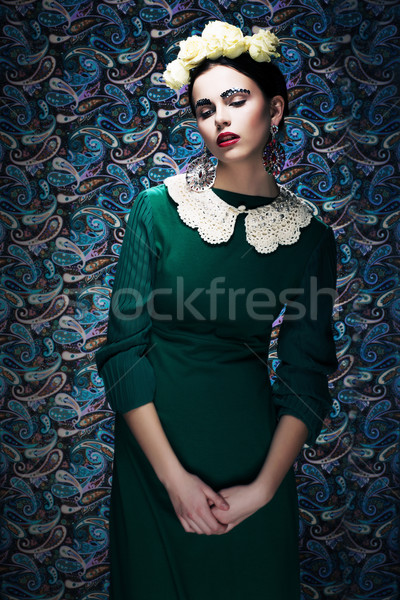 Romantic Young Styled Woman in Green Vintage Dress. Pin-up Stock photo © gromovataya
